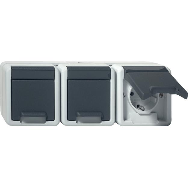 Gira 015630 Wechseltaster grau WG AP IP44 mit Beschriftungsfeld